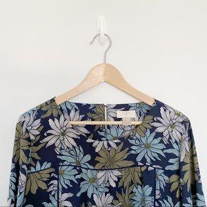 Loft navy blue floral top